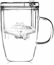 Teeglas Hochwertig mit Infuser und Deckel 400ml,