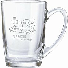 "Teeglas/ Kaffeeglas 320ml mit Gravur ""Man trinkt"