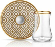 Teeglas mit Goldrand und Unterteller aus Bone