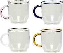Teeglas mit Henkel Suvi 4er-Set Glas bunt