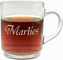 Teeglas mit Namen, Kaffeeglas, Glühweinglas, Glastasse, Glas mit Henkel, Geschenkidee, Weihnachtsgeschenk, Geburtstagsgeschenk