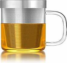 Teeglas mit Teesieb und Deckel (350 ml) - Glasklar