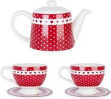 Teekanne + 2 Tassen PUNKTE + HERZEN für 0.3L rot weiß Clayre & Eef (32,95 EUR / Stück)
