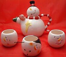 Teekanne + 3 Becher Schneemann Winter Weihnachten