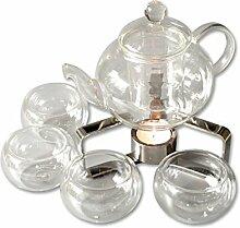 Teekanne 600 ml aus Borosilikat-Glas Teesieb