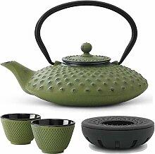 Teekanne asiatisch Gusseisen Set grün 0,8 Liter