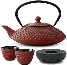 Teekanne asiatisch Gusseisen Set rot 1,25 Liter