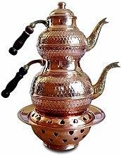 Teekanne aus gehämmertem Kupfer mit