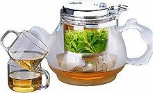 Teekanne aus Glas mit Filter, elegante Tasse,