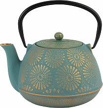 Teekanne aus Gusseisen, blau und goldfarben 1,2l