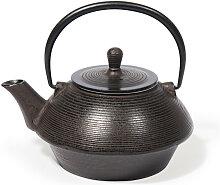 Teekanne aus Gusseisen, braun geriffelt