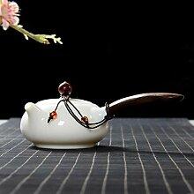 Teekanne Aus Keramik Weißes Porzellan Seitengriff