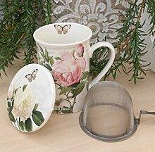 Teekanne aus Porzellan mit Edelstahl-Fach für den