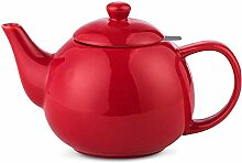 Teekanne aus Porzellan (rot)