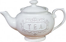 Teekanne aus weißem Porzellan Shabby