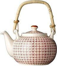 Teekanne CARLA mit Muster in rot D. 18cm H. 15cm