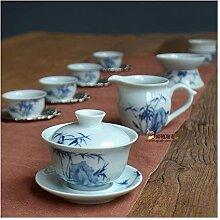 Teekanne Celadon Tee-Set Paket von Hand bemalt