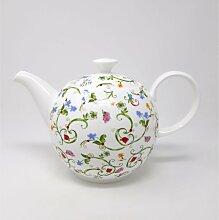 Teekanne Fleurette für 1500ml weiß Blumen