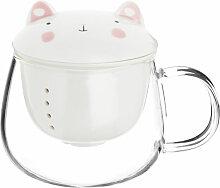 Teekanne Katze aus weißem Porzellan und Glas