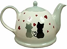 Teekanne Keramik 1,5 Liter Dekor Katze Motiv