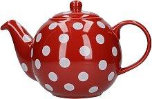 Teekanne London Pottery Globe rot weiß gepunktet