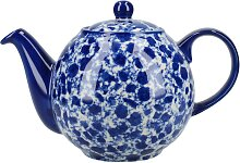 Teekanne London Pottery Splash Globe blau für