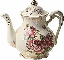 Teekanne mit rotem Rosenmuster, elfenbeinfarben,
