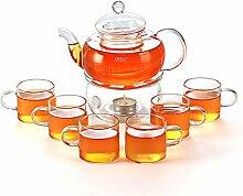 Teekanne mit Stövchen und 6 Teetassen CJ-BS808A
