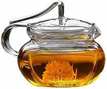 Teekanne mit Teesieb für losen Tee, klares Glas,