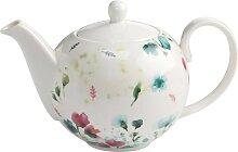 Teekanne PRIMAVERA keramik Blumen bunt weiß