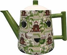 Teekanne Retro grün Konisch Dekor Teemotiv 1,3l