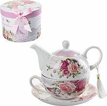 Teekanne-, Tasse- und Untertasse-Set für eine
