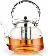 Teekanne und Tee-Ei aus Glas mit Edelstahl-Ei für