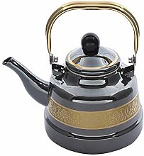 Teekannen 1.1 1.7 2.5L Goldschwarzer Emaille-Topf