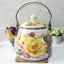 Teekannen Kaffeebecher, Emaille, 3,3 l, Rose,