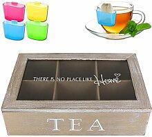 Teekasten - Teedose - Teebox 6 Fächer - Home