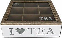 Teekiste 9 Fächer - I Love Tea - Teebox -
