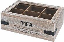 Teekiste Holz Teebox 6 Fächern Glasdeckel Tee