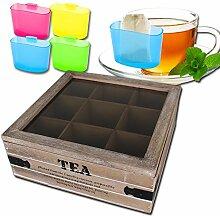 Teekiste - Teekasten - Teedose - Teebox 9 Fächer