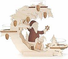 Teelicht-Halter Weihnachtsmann, Laubsäge-Arbeit aus Holz von DREGENO SEIFFEN – Original erzgebirgische Handarbeit, stimmungsvolle Weihnachts-Dekoration