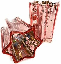 Teelicht Stern Glas Crackle Rosa Kupfer 2 er set