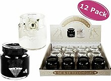 Teelichtglas Hochzeit 12er Set - Windlicht, Teelichthalter, Dekoration Hochzei