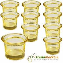 Teelichtglas-Set gelb ✓ 10er Set trendmarkt24 ✓ ca. 6,5 x 4,5 cm groß ✓ Windlicht-Glas Teelichtgläser | Teelicht-halter Set ✓ Hochzeits Tischdeko / Geburtstags Deko | trendmarkt24 - 37501801