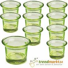 Teelichtglas-Set grün ✓ 10er Set trendmarkt24 ✓ ca. 6,5 x 4,5 cm groß ✓ Windlicht-Glas Teelichtgläser | Teelicht-halter Set ✓ Hochzeits Tischdeko / Geburtstags Deko | trendmarkt24 - 37501791