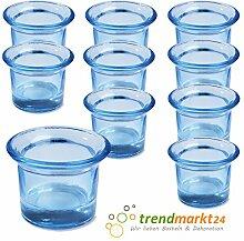 Teelichtglas-Set hellblau ✓ 10er Set trendmarkt24 ✓ ca. 6,5 x 4,5 cm groß ✓ Windlicht-Glas Teelichtgläser   Teelicht-halter Set ✓ Hochzeits Tischdeko / Geburtstags Deko   trendmarkt24 - 37501821