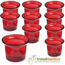 Teelichtglas-Set rot ✓ 10er Set trendmarkt24 ✓ ca. 6,5 x 4,5 cm groß ✓ Windlicht-Glas Teelichtgläser | Teelicht-halter Set ✓ Hochzeits Tischdeko / Geburtstags Deko | trendmarkt24 - 37501811