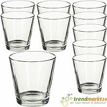 Teelichtglas-Set transparent ✓ 10er Set trendmarkt24 ✓ ca. 6,6 x 4,5 cm groß ✓ Windlicht-Glas Teelichtgläser | Teelicht-halter Set ✓ Hochzeits Tischdeko / Geburtstags Deko | trendmarkt24 - 37501831