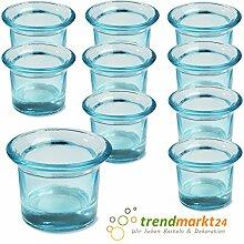Teelichtglas-Set türkis ✓ 10er Set trendmarkt24 ✓ ca. 6,5 x 4,5 cm groß ✓ Windlicht-Glas Teelichtgläser | Teelicht-halter Set ✓ Hochzeits Tischdeko / Geburtstags Deko | trendmarkt24 - 37501771