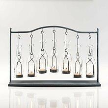 Teelichthalter 7 hängende Flaschen grau 50x12,5cm