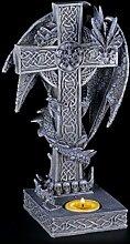 Teelichthalter - Drachen Figur klettert auf Kreuz